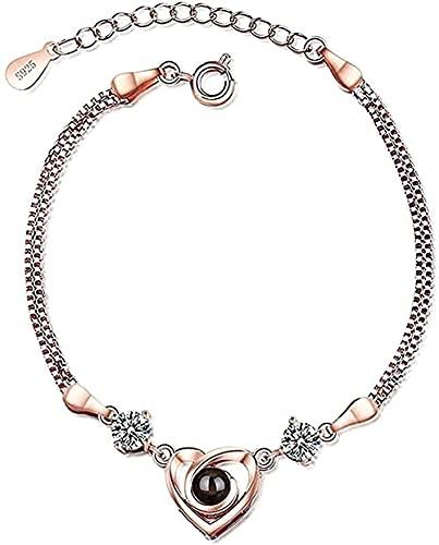 WYDSFWL Collar Mujer Collar Hombre Colgante en Forma de corazón Collar de Moda Pulsera Mujer Personalidad Simple Amor Recuerdo joyería Collar Regalo para niñas niños