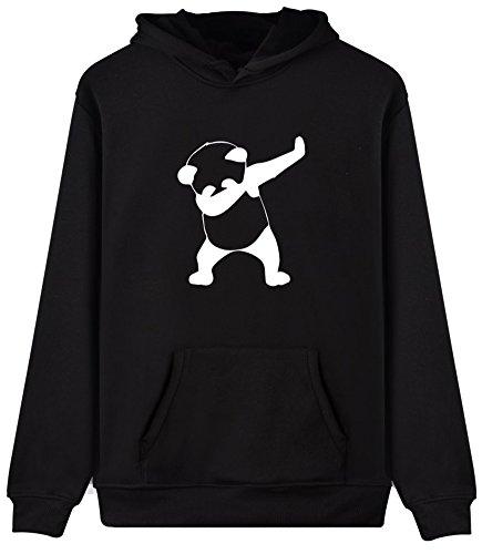 EUDOLAH Femme Pull Sweat-Shirt à Capuche Autonome Animaux imprimés Manches Longues Panda Noir 3XL