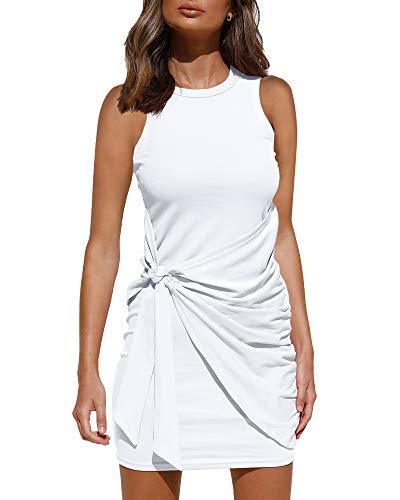 LILLUSORY Women's Summer Casual Sleeveless Tank Dress 2021 Crewneck Bodycon Ruched Tie Waist Mini Dresses White