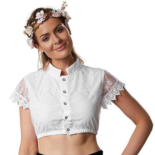dressforfun 900599 Elegante Dirndlbluse, Ärmel aus Spitze mit Blumenmuster, Stehkragen, kurz, weiß - Diverse Größen - (L | Nr. 303097)