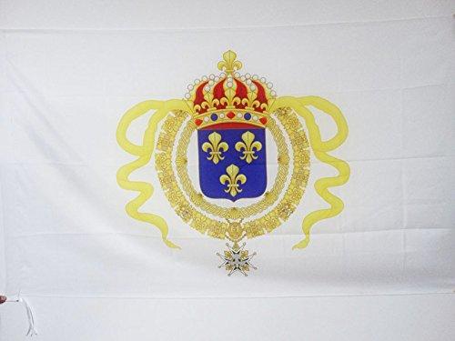 AZ FLAG Drapeau Nouvelle-France 90x60cm - Drapeau royaliste - étandard Louis XIV 60 x 90 cm Fourreau pour hampe