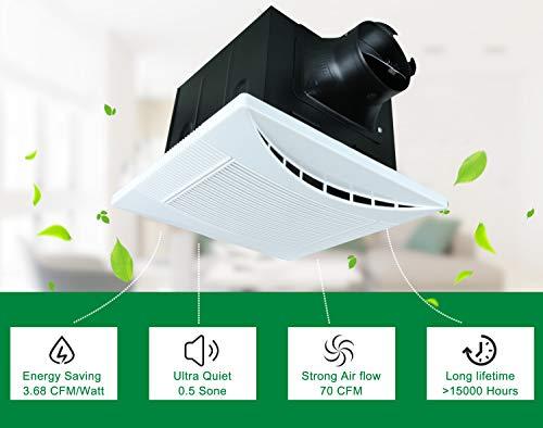 Akicon Ultra Quiet 70 CFM Ceiling Exhaust Bathroom Fan Crescent70