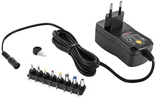 Poppstar Alimentador Universal (3 V, 4,5 V, 5 V, 6 V, 7,5 V, 9 V, 12 V - 1,5 A (1500mA), con 8 Conectores y LED, Cable eléctrico 150 cm