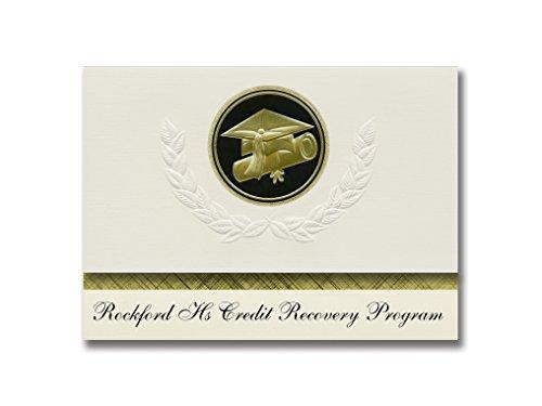 Signature Announcements Rockford Hs Credit Recovery Program (Rockford, MN) Graduation Ankündigungen, Presidential Basic Pack 25 Cap & Diplom Siegel Schwarz & Gold