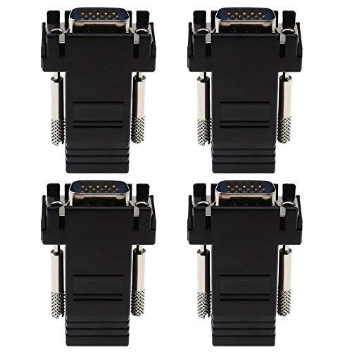 4 adaptadores de convertidor de red VGA de 15 pines macho a...