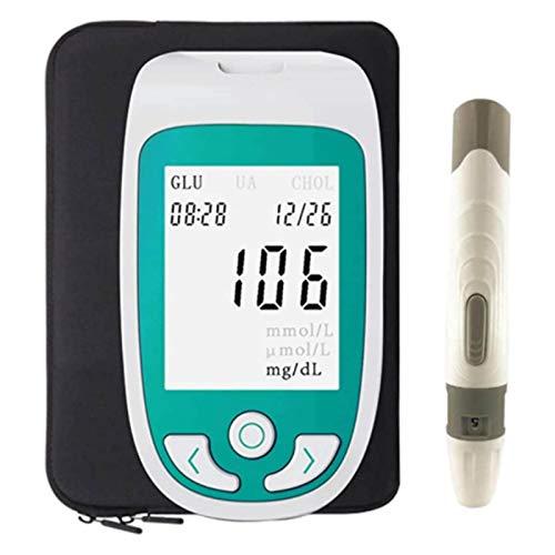 HTTDD 3 in 1 Blood Glucose Meter Home Smart Three-in-one Tester, Blood Sugar, Cholesterol, uric Acid Test Paper (Blood Sugar Test Paper: 25, uric Acid Test Paper: 25, Cholesterol: 10)