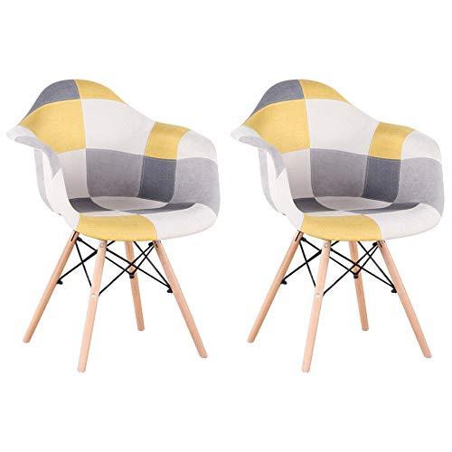 GrandCA HOME Pack de 2 sillas,sillas de Comedor Patchwork Tela de Lino Butaca, Silla de salón, sillas de recepción, Silla de Cocina (Amarillo-2)