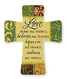 Cruz de porcelana con texto en inglés «Love bears all thing hope for all thinges» 12818