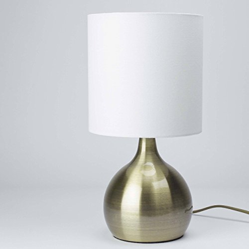 Moderne Tischleuchte in Messing Optik, Stoffschirm, Touchdimmer, E14 max. 40W, Höhe 29cm Tischlampe Nachttischlampe