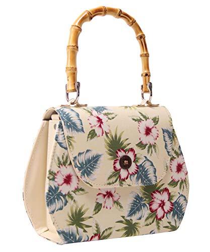 SugarShock Damen Handtasche Jacira Bamboo Hawaii, Farbe:cremé