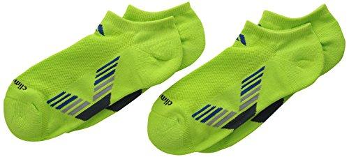 adidas Boy's Climacool X II No Show Sock, Solar Slime/Blue Beauty/Mid Grey/Dark Onix, Large/3-9
