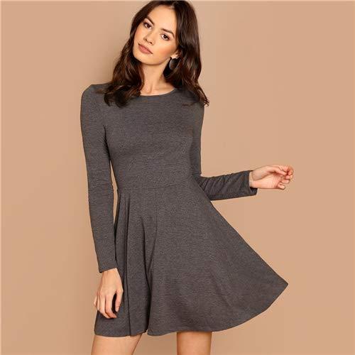 GMZA grijze pasvorm en uitgereiste, gemêleerde, gebreide jurk casual lange mouwen met ronde hals en A-lijnenjurk voor vrouwen, rekbare herfstjurk, korte jurk