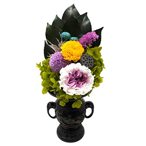 【凛-RIN-】 プリザーブドフラワー 仏花 お盆 彼岸 お供え 伝統的 な 仏壇 に凛とした佇まい 専用クリアケース