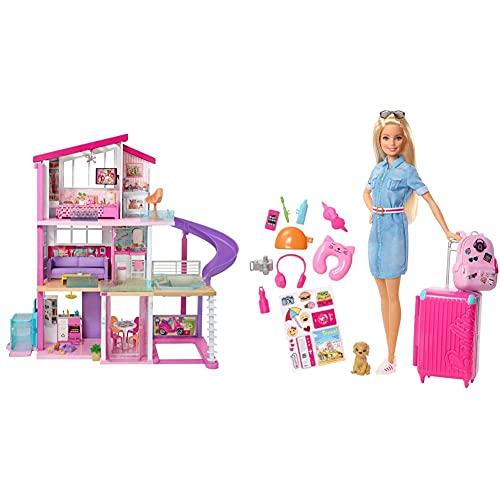 Barbie Casa De Muñecas con Accesorios, La Casa De Tus Sueños, con Elevador Nuevo (Mattel Gnh53) + Vamos De Viaje, Muñeca con Accesorios, Edad Recomendada: 3 Años Y Mas (Mattel Fwv25)