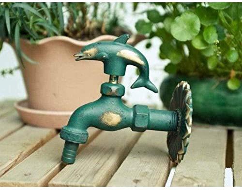 Garden Tap Outdoor Garden Faucet Animal Shape Bibcock Green Antique Brass Faucet for Washing Mop Garden Watering Animal Faucet