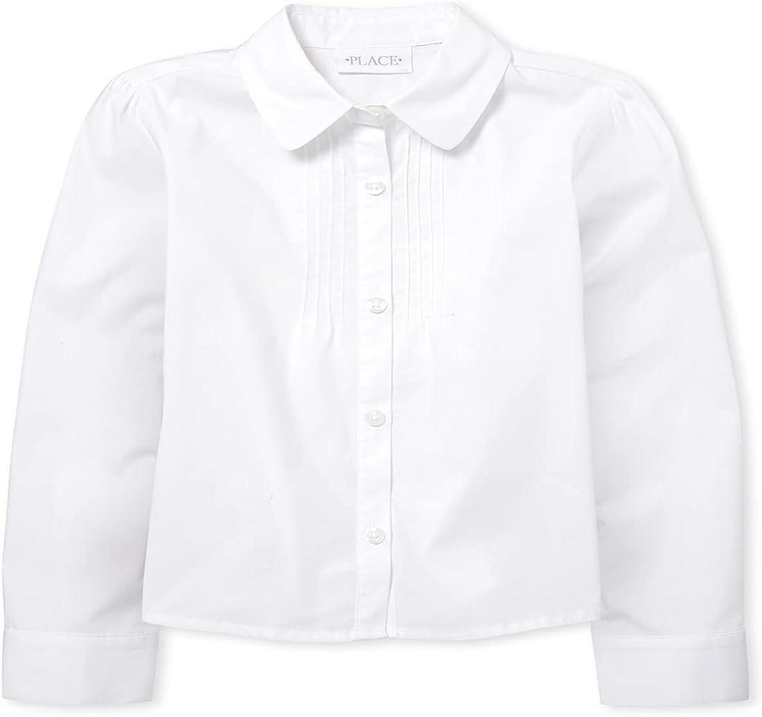 The Children's Place Girls' Long Sleeve Pintuck Poplin Button Down Shirt