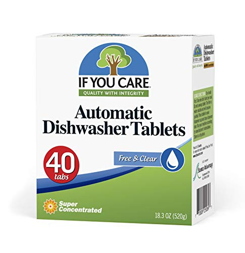 If You Care Dishwasher Tablets – 40 Count – Powerful, Plant Based, Concentrated, Biodegradable, Natural Dish Cleaner Detergent, Dishwashing Soap Tabs