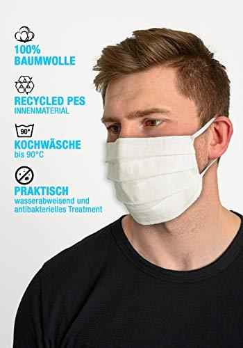 Daritex Wiederverwendbare Unisex Maske und Mundschutz - anitbakerielle Nasenmaske aus 4 Lagen (10, White)