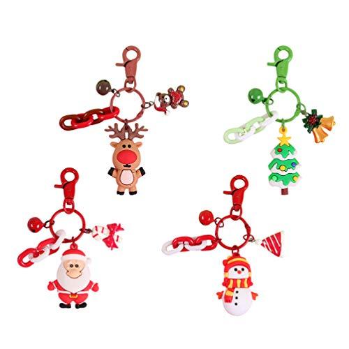 NUOBESTY 4 pezzi portachiavi natalizi portachiavi con pupazzo di neve di natale albero di natale borsa renna borsa charms festa di natale bomboniere regali riempitivi borsa