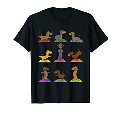 Dackel Yoga T-Shirt Lustige Hunde in Yoga Posen Sport Shirt