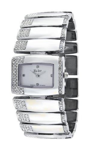 Mador - MAW1203 - Armbanduhr für Damen - Zifferblatt Weiß - Metallarmband Silber - Diamanten - Swarovski Elemente