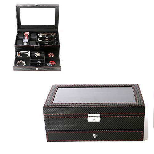 Yuzhijie Caja de joyería de doble capa de fibra de carbono de gama alta 6 + 3 relojes caso de cuero de la PU gafas caja de almacenamiento