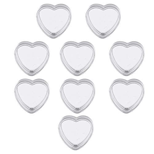 FRCOLOR Lote de 100 botes de plástico vacíos transparentes con forma de corazón, 4 g, recargables, con tapas para crema