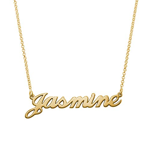 MyNameNecklace Name Necklace - Personalized Engraved Name Pendant Jewelry Precious Metals Sterling Silver 925 & Gold Plating - Nameplate Necklace Gift for Her