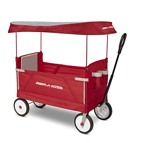 Radio Flyer 3-In-1 Ez Folding Wagon with Canopy For Kids & Cargo,...