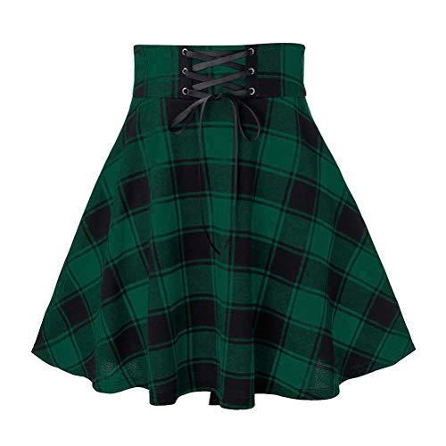 IDEALSANXUN Plaid Mini Skirts for Womens Chic Aline Pleated Mini Skater Skirts (Medium, Plaid Green)
