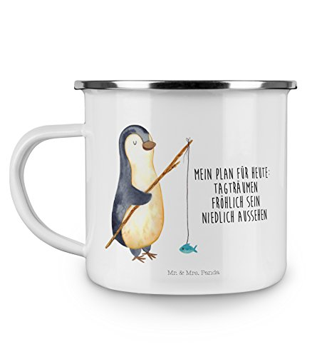 Mr. & Mrs. Panda Metall-Tasse, Tassendruck, Camping Emaille Tasse Pinguin Angeler mit Spruch - Farbe Weiß