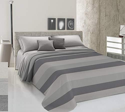 HomeLife Colcha para cama individual primaveral de verano teñida de hilo [180 x 290] Made in Italy | Manta para cama individual de rayas anchas 100% algodón | Sábana bajera ajustable ligera | 1P gris