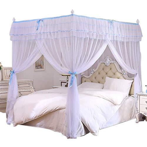 Review Of EAHKGmh 4 Corners Post Bed Curtain Canopy Netting Mosquito Netting for Girls & Adults Bedr...