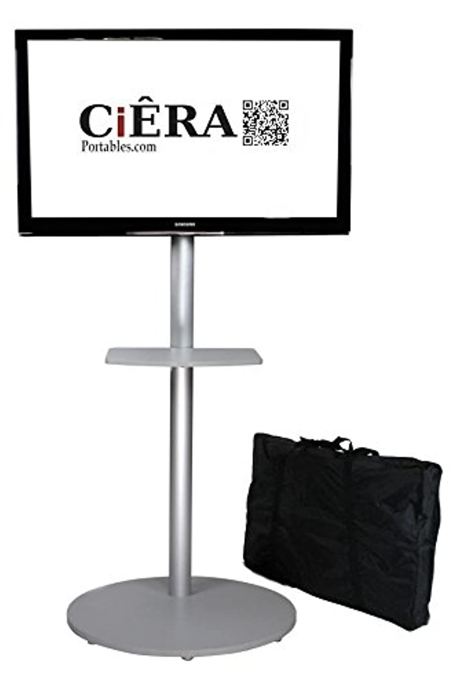 CiERA EZ StandTall ONE Portable TV Stand with Padded Carrying Case and Shelf for 28-70 Inch TV's - Silver