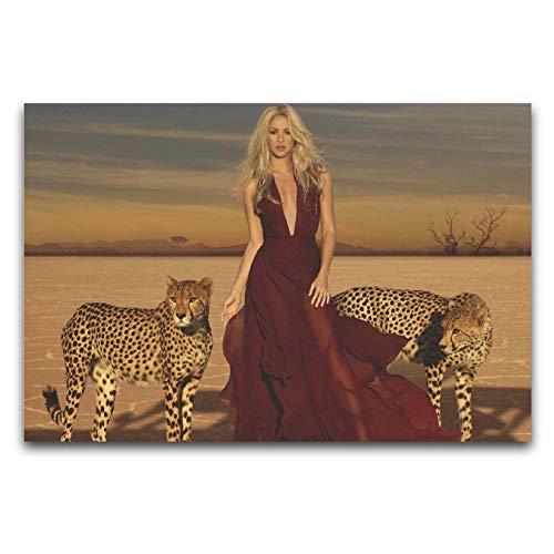 Shakira Perfume Elexir Wild Lienzo Póster artístico y arte de pared impresión moderna para dormitorio familiar de 50 x 75 cm