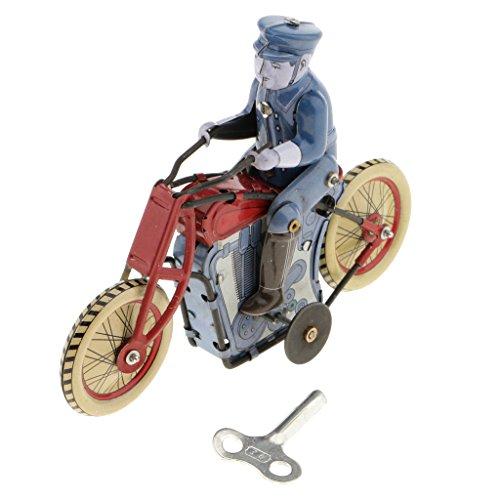 KESOTO Retro Policeman Riding Motorcycle Model Wind-up Clockwork Colección de Juguetes de Hojalata