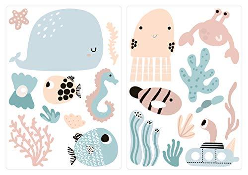 dekodino® Pegatina de pared cuarto del bebé mundo subacuático animales marinos