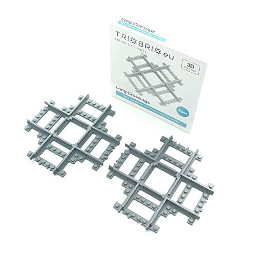 Trixbrix.eu Cruce largo – 2 piezas compatibles con todos los trenes de la ciudad 60197 60198 60205