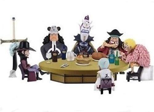 CXNY 5cm 6pcs / Set One Piece Doflamingo Kuma Teach Dracule Mihawk Figura de acción Juguetes colección muñeca Caja