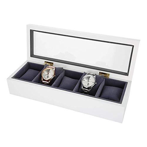 Caja de Almacenamiento de Reloj, Caja de joyería de 5 Rejillas para Organizador y exposición Happy Life