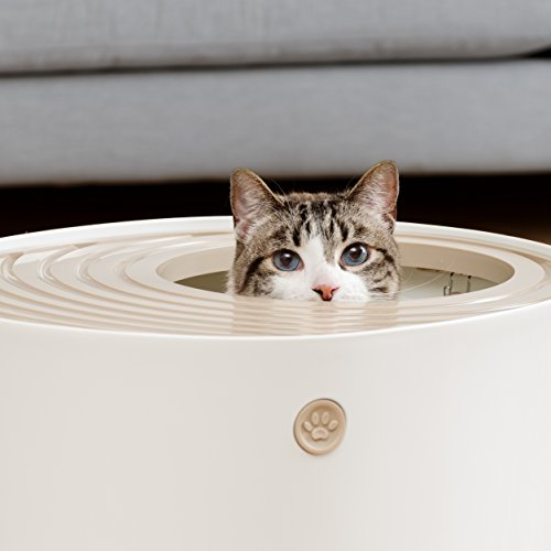 IRIS Top Entry Cat Litter Box with Cat Litter Scoop, White & Beige