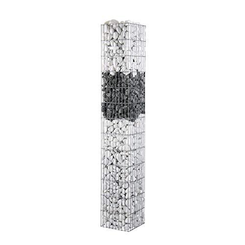 bellissa Gabionen-Steinsäule Pronto eckig - 95205 - Gabionensäule eckig mit Pfosten - fertig montiert - 30 x 30 x 195 cm