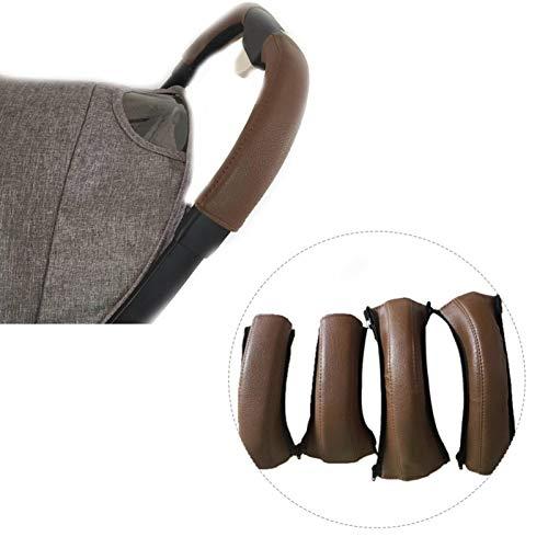 PIONIN Cubierta de piel para cochecito de bebé, 4 unidades, universal, protección para el mango, funda protectora a prueba de polvo, funda para cochecito de bebé