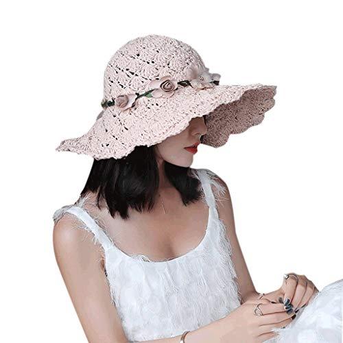 YWSZJ Sombrero de Mujer Versión de Verano de Corea del sombrilla Salvaje Sombreros Plegable Flores de Moda Sombrero de Paja Sombrero de Sol Gorra de Playa (Color : A)