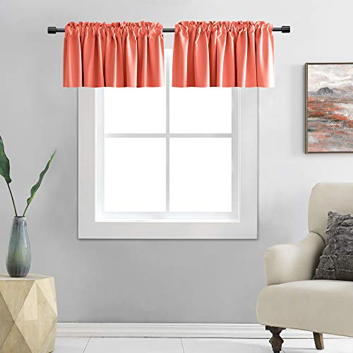 DONREN Coral Valances for Window-Blackout Valances for Kitchen with Rod Pocket (42 by 15 Inch,2 Panels)
