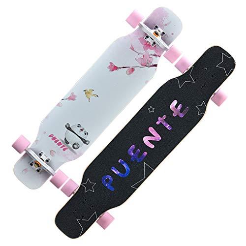 Skjut Longboard två knappar skateboard 9-lagers lönn 4 hjul dubbel kedja kors med ABEC-9 kromlager för barn ungdomar vuxna sport och utomhus