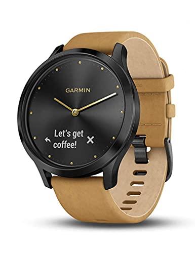 Garmin vivomove HR, Hybrid Smartwatch for Men and Women, Onyx Black with Light Tan Suede Band (Renewed)
