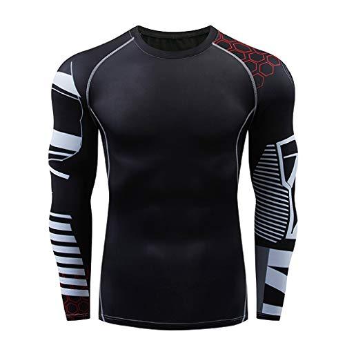 DNOQN Sportshirt Herren T Shirt Topshop Poloshirt Herren Beiläufig Fitness Schnell Trocknende Elastische Atmungsaktive Sport Fest Langarmshirts XL