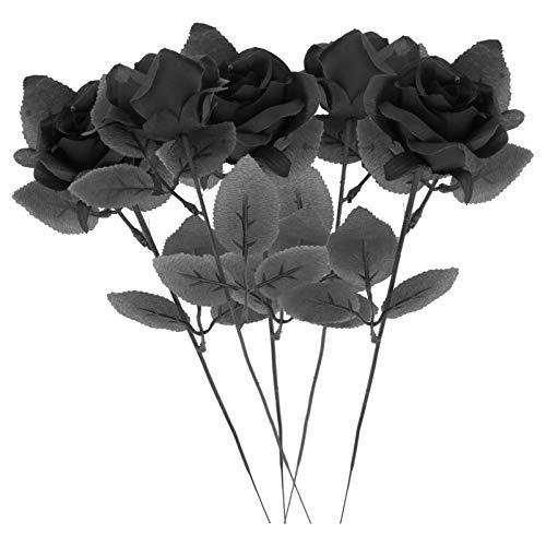 UPKOCH 5Pcs Künstlicher Rosenstrauß Realistische Rosenblume Pickt Zweige Blumenanordnung für Tischhaushochzeitsdekorationen (Schwarz)