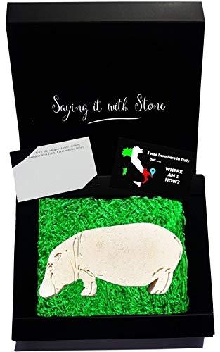 Saint Valentin Hippopotame en pierre fait à la main en Italie - Symbole de courage, de force, de maternité et de calme dans une crise - Coffret cadeau et carte de message vierge inclus - Hippo